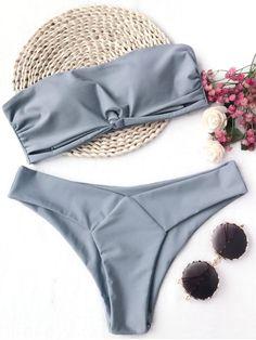 Padded Bandeau Bikini Set - GRAY M