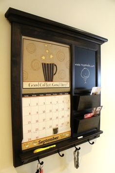 family planner wall calendar frame maple furniture front loading lang calendar frame with double mail organizer chalkboard cork keyhooks