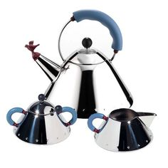 Tea kettle, sugar bowl, and creamer by Michael Graves for Alessi.
