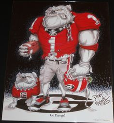 """UGA print featuring UGA Dawg entitled """"Go Dawgs!"""" by Dave Helwig @ BetweenTheHedgesS... UGA DAWGS Georgia Bulldogs Football $20"""