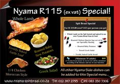 Nyama Spitbraai is a catering company. Nyama Spitbraai specializes in South African Flavoured Pig Roasts , Lambs on the Spit , Braai's and General Outside Catering.