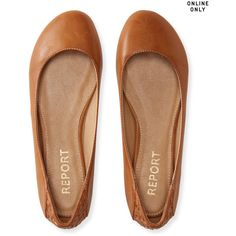 Aeropostale Report Milez Flat ($18) ❤ liked on Polyvore featuring shoes, flats, cognac, flat heel shoes, cognac shoes, aeropostale shoes, rock shoes and flat pumps
