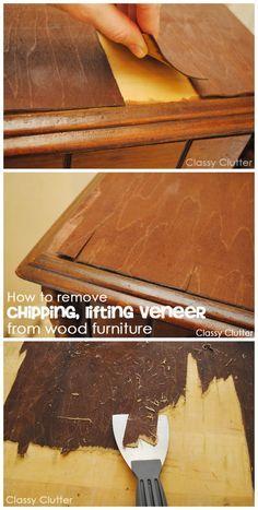 How to remove veneer from wood furniture (the easy way!) - Classy Clutter - How to remove veneer from wood furniture (the easy way!) – Classy Clutter How to remove veneer from furniture without losing you rmind! Furniture Fix, Refurbished Furniture, Repurposed Furniture, Furniture Projects, Furniture Making, Furniture Makeover, Painted Furniture, Diy Projects, Furniture Refinishing
