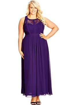 """City Chic Paneled Lace Bodice Gown available at Nordstrom - available in """"Mulberry"""""""
