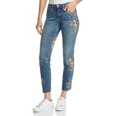Blanknyc Embroidered Straight-Leg Jeans in Green Thumb Blue (2.350 ARS) ❤ liked on Polyvore featuring jeans, green thumb blue, blue jeans, green straight leg jeans, faded jeans, straight leg jeans and green jeans