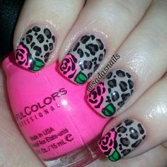 leopard and roses nails