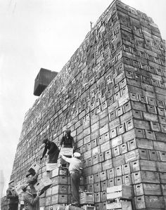 March 27, 1933, Chicago: Mountains of beer cases, waiting to be filled when prohibition is lifted and beer production can start up. Schoenhofen Brewery, 1900 W. 18th Street.