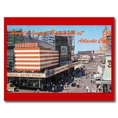 Shop Boardwalk View, Atlantic City NJ Vintage Postcard created by markomundo. Jersey Girl, New Jersey, Vintage Postcards, Vintage Photos, Jewel Of The Seas, Coney Island, Atlantic City, Ocean City, Postcard Size