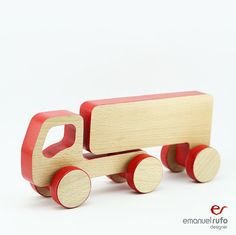 Wooden Truck Push Toy Car Toy Truck Birthday Red by emanuelrufo