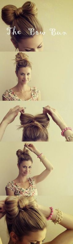 The Hair Bow Bun - love this so much, doubt it would work in my hair, but I love, love, love! Once my hair is long enough I know I could attempt putting my hair up in this hair bow Bun! the hair bow Bun style! Pretty Hairstyles, Girl Hairstyles, Wedding Hairstyles, Quick Hairstyles, Medium Hairstyles, Latest Hairstyles, Easy Hairstyles For Medium Hair For School, Curly Haircuts, Fringe Hairstyles