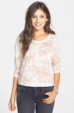 Lush Colorblock Floral Print Sweatshirt (Juniors) available at #Nordstrom