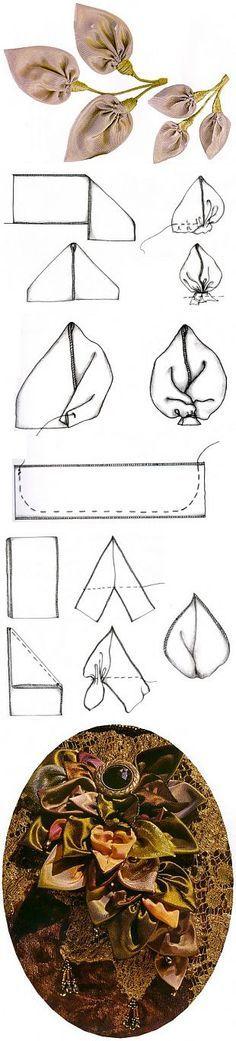 Листья, чашечка и стебель / Цветы из лент и ткани / В рукоделии   Вышивка лентами,изготовление цветов.   Постила