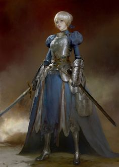 "andro-womeninarmor: "" Saber fanart by Ruan Jia on -=Andro Women In Armor=- See More Armored Women Ready For Battle Fantasy Character Design, Character Concept, Character Inspiration, Character Art, Concept Art, Fantasy Armor, Medieval Fantasy, Fantasy Fighter, Illustration Fantasy"
