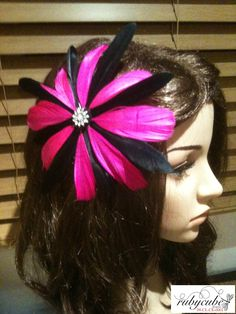 Black & pink feather flower. Perfect for weddings, formal events or the races. Fascinator by Rubycube Designs.
