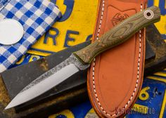 Fiddleback Forge: Scorpion - OD Micarta - Natural Canvas / Lime Liners - CPM-154 $385