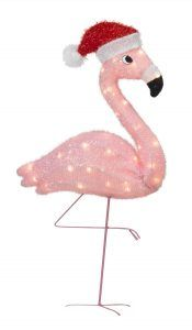 lighted pink flamingo christmas lawn ornament