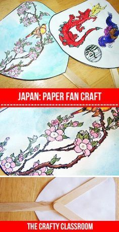 Japanese Paper Fans! You can use our premade fans to color or paint abeautiful picture….or use our printable fan  template and let children design their own! This is a fantastic group activity as each project turns out wonderfully unique.
