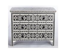 Black Bone Inlay Chest Of 4 Drawer Star Geometrical Design