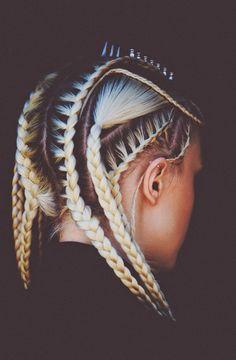 "Fierce braid by Sienree Du; MUA: Nicole Walmsley; Photographer: Josh Reed for REVS magazine. ""Shades of Metal"" collection. #hotonbeauty #braids instagram.com/hotonbeauty"