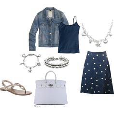 Spring, denim jacket, polka-dot skirt