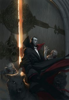 A Vampire Lord and his retinue bar the door behind themselves with the rising sun to their backs.