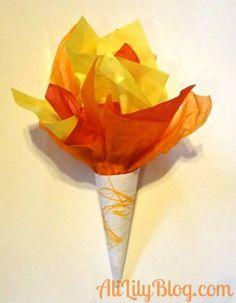 crédit photo Ali Lily  Les JO approchent à grands pas. C'est l'occasion d'en parler à vos enfants et pour les mettre dans le bain, je vais vous proposer, pour les jours à venir, des idées basées sur cet événement. On commence par la torche olympique : Vous pourrez réaliser une torche facilement avec du papier de soie jaune, rouge et orange pour la flamme et du papier kraft pour le support. Instructions Le plus simple est de faire comme Ali Lily : superposez des feuilles de papier de soie en…