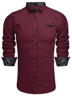 Buy Men's Business Casual Long Sleeve Patchwork Shirt Slim Fit Button Down Dress Shirts - Wine Red - and Others Best Selling Men's Shirts with Affordable Prices Slim Fit Dress Shirts, Slim Fit Dresses, Fitted Dress Shirts, Shirt Dress, Business Casual Men, Men Casual, Casual Button Down Shirts, Casual Shirts, Shirt Style