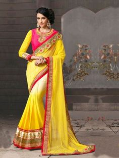 Yellow And Cream Georgette Saree With Embroidery Work