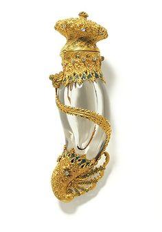 Vintage Gold, Diamond, Rock Crystal, Quartz & Enamel Perfume Bottle by Tiffany & Co. 1895