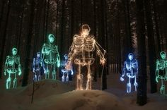 Janne Parviainen's amazing skeleton light paintings with light or glow in the dark paint.