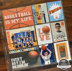 Project Ideas for Paper House Productions - All Star Collection - Basketball - 12 x 12 Double Sided Paper - Basketball Tags Senior Scrapbook Ideas, School Scrapbook, Scrapbook Page Layouts, Scrapbook Paper, Kids Scrapbook, Project Life Scrapbook, Project Life Layouts, Project Ideas, Craft Ideas