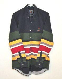 VTG CHAPS by RALPH LAUREN Blue Stripe L/S Button Up Shirt sz M Color Block 90's #ChapsbyRalphLauren #ButtonFront