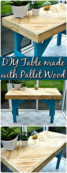 Chevron Wooden Pallet Table - 150 Best DIY Pallet Projects and Pallet Furniture Crafts - Page 17 of 75 - DIY & Crafts