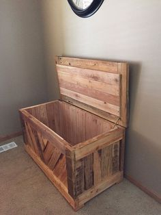 This awesome wooden chest can be used as a hope chest, toy box or storage for an infinite amount of things. I made this chest with varied planks of pallet wood. The different colors, textures and distress of each plank give it a one of a kind look! The one pictured is finished with a natural stain/polyurethane mix to protect the wood and enhance the original color. All of the interior planks are cedar. I can make one for you in a size that fits your needs. Please send me a message with any…