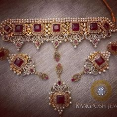 gold plated choker set in semi precious stones and pearls. Set includes: choker, earrings and tikka. Bridal Jewelry Vintage, Bridal Jewelry Sets, Bridal Jewellery, Bridal Accessories, Fancy Jewellery, Gold Jewellery Design, Gold Jewelry Simple, Stylish Jewelry, Fashion Jewelry