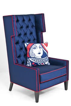 Tangier Wing Chair in Majestic Navy