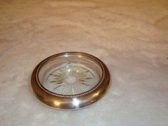 Vintage Signed Frank M. Whiting Sterling Silver & Glass Coaster  #FrankMWhiting