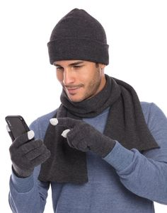 d1a3361d3ca65b Casaba Winter 3 Piece Set Beanie Hat Scarf Touchscreen Gloves Flat Knit for Men  Women