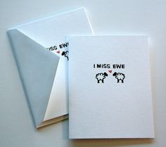 I Miss You Greeting Card. I Miss Ewe Sheep Pun by BoundByPaper, $3.50