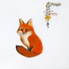 Red Fox painting, Alphabet illustration, fox, woodland animal illustration, kids room decor, childhood friend painting by inameliart