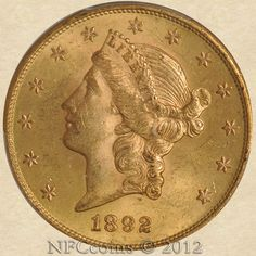 1892-S Twenty Dollar Gold Liberty MS63 PCGS, obverse