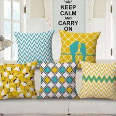 Geometric Vintage Flower Linen Cotton Pillow Case Cushion Cover Home Sofa Decor…