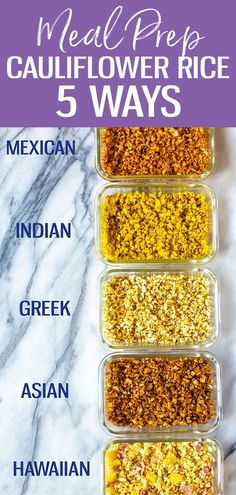 This post will show you how to create Cauliflower Rice 5 Ways - there are Cajun, Hawaiian, Greek, Indian and Asian flavours to brighten up this low carb side dish! Diet Recipes, Vegetarian Recipes, Cooking Recipes, Healthy Recipes, Recipes With Macros, Recipies, Avocado Recipes, Sausage Recipes, Pizza Recipes