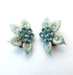 Calla Lily Pastel Blue Celluloid Plastic Flower Rhinestone Earrings Bridal Jewelry Costume Jewelry Retro Jewelry