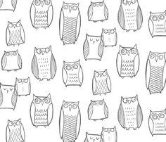 Night Owl White, fabric by leanne on Spoonflower - custom fabric