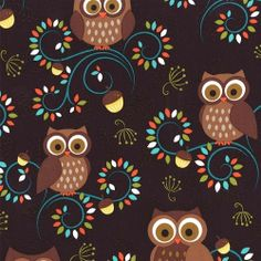 Michael Miller Happy Hooters Owl on Brown by CHESHIREFABRICS, $9.99
