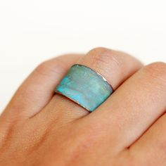 Blue Green Patina Verdigris Wide Brass Band Ring. $12.00, via Etsy.