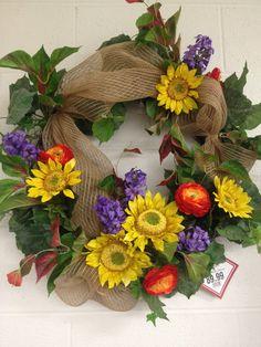 Burlap and Sunflowers wreath