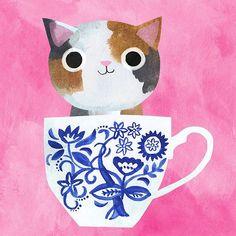 angie Rozelaar Tortie Kitten, Teacup Kitten, Sheila E, Canvas Art, Canvas Prints, Cat Cards, Little Kittens, Cat Drawing, Cute Illustration