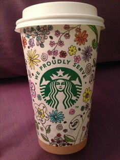 Starbucks cup art. Flowers. Hippie. By D who doodles... Everywhere. :) Allison